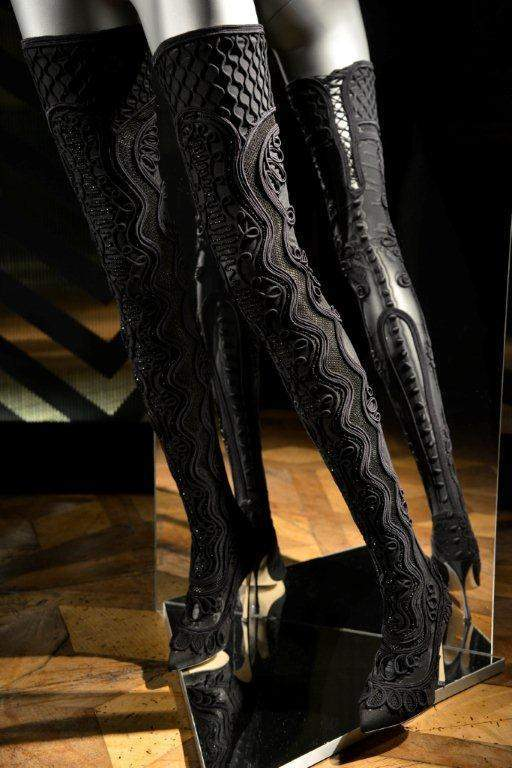 Embroidered Black Thight Boots Collection Fall/Winter 2015/2016