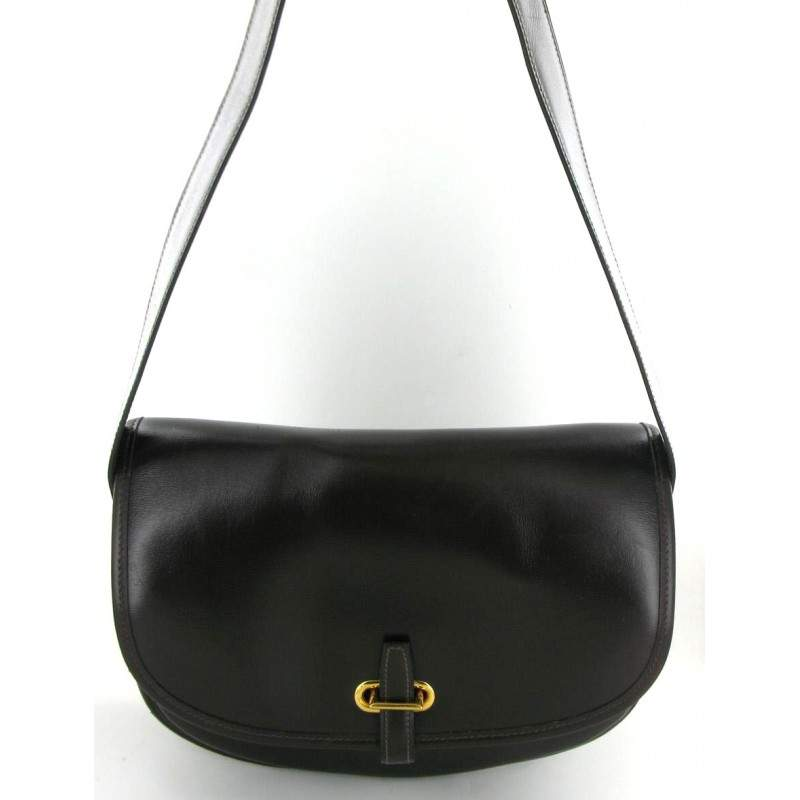 Hermes Golf Ball Bag in black leather and gold clasp
