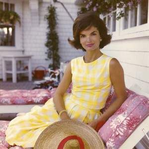 Jacqueline Kennedy in total gingham look