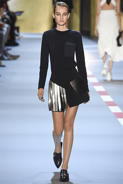 Mugler used the silvery touch during his Spring and Summer fashion show